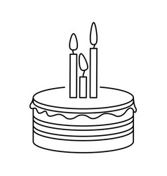 silhouette party cake with canddles icon vector image