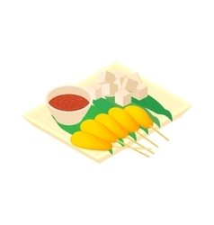 Singapore food icon cartoon style vector