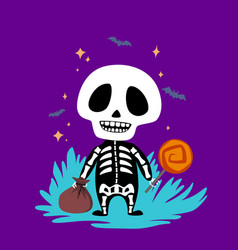 skeleton with candy vector image