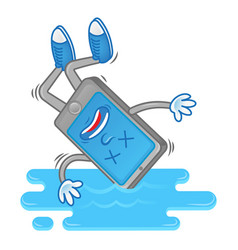 smartphone fall in water vector image