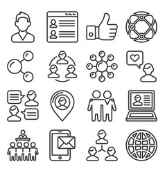 social icons set on white background line style vector image