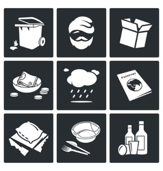 Social phenomenon homeless Icons Set vector image