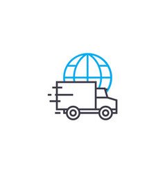 Standard international delivery thin line vector