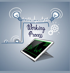 tablet computer business financial graph working vector image