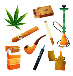 Tobacco products cigar or cigarette smoking pipe vector