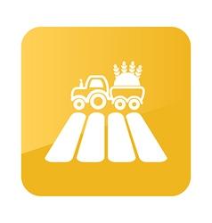 Tractor on field icon Farm vector