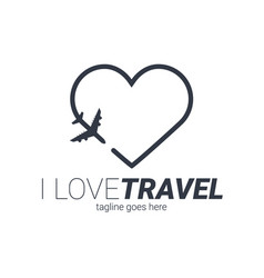 Travel logo template with airplane and heart vector