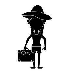 Traveler woman hat suitcase pictogram vector