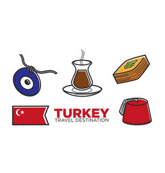 turkey tourist travel and turkish culture vector image