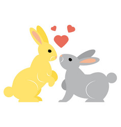 Two cute simple shaped funny rabbits vector