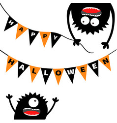 Two screaming monster head silhouette bunting vector