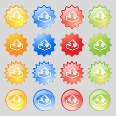 Upload icon sign Big set of 16 colorful modern vector image