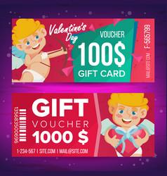 Valentine s day gift voucher horizontal vector