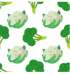 Vegetable seamless pattern with cauliflower and vector