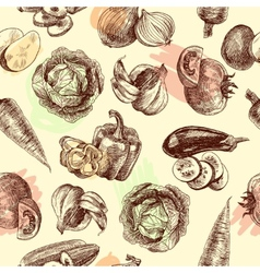Vegetables sketch seamless pattern vector image