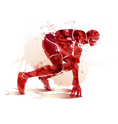 Watercolor athlete on track starting to run vector