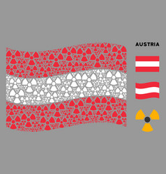 Waving austrian flag mosaic radioactivity items vector