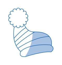 Winter knitted hat with pompon style winter vector