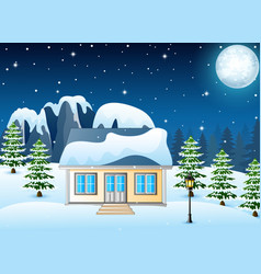 winter night landscape with snow covered house and vector image