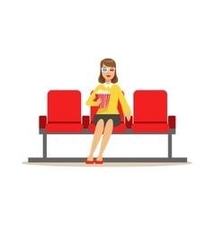 Woman In Cinema Room Alone With Popcorn And 3D vector
