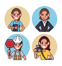 worker cartoon icons vector image