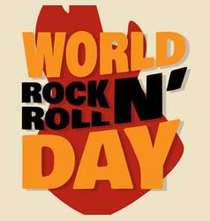 World rock n roll day letter emblem vector