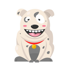 big smiling bulldog with grey spots huge eyes vector image