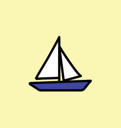 boat icon thin line color vector image vector image