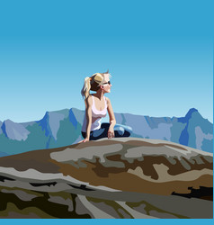 cartoon woman looking into the distance sitting vector image