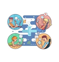 Communication people at distance vector image vector image