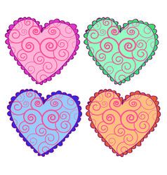 heart icons set hearts set vector image