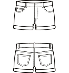Jean shorts Front and back vector image