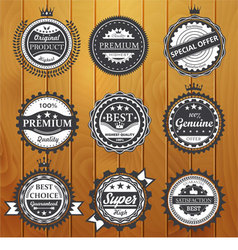Premium quality guarantee genuine badges vector image