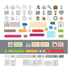 set of timeline icons with infographic diagrams vector image vector image