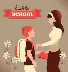 Vintage silhouette of teacher and student vector image