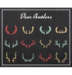 Vintage silhouettes of different deer horns vector image