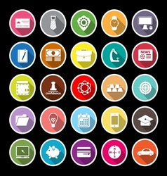 Businessman item flat icons with long shadow vector image