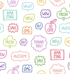 Colorful outline phrases seamless pattern on white vector image vector image
