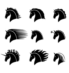 horse head set vector image vector image
