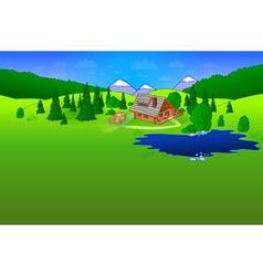 Hut in Forrest Scene vector image