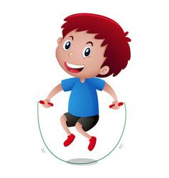 little boy doing jumprope vector image