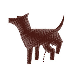 pet dog peeing mascot silhouette vector image vector image