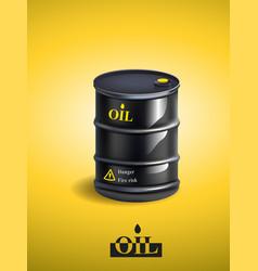 Realistic black metal oil barrel vector