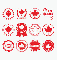 red canada flag emblems and design element set vector image vector image