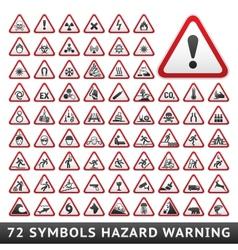 Triangular Warning Hazard Symbols Big red set vector image vector image