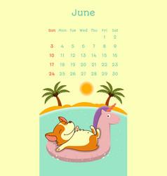 2018 june calendar with welsh corgi dog vector