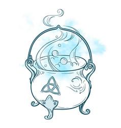 blue boiling magic cauldron vector image vector image