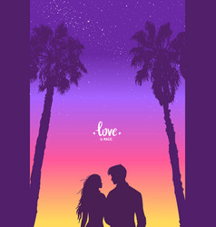 couple palm tree vector image vector image