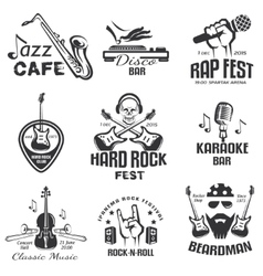 different music styles retro emblems and bages vector image vector image