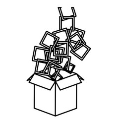 figure box opened with colored square icon vector image vector image